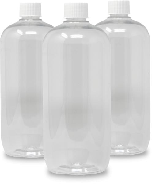 3 empty litre bottles